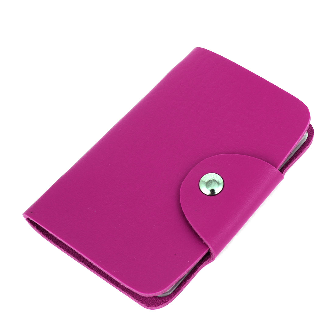 Fuchsia Faux Leather 11 Sheet Bank Credit Card Pocket Case Holder