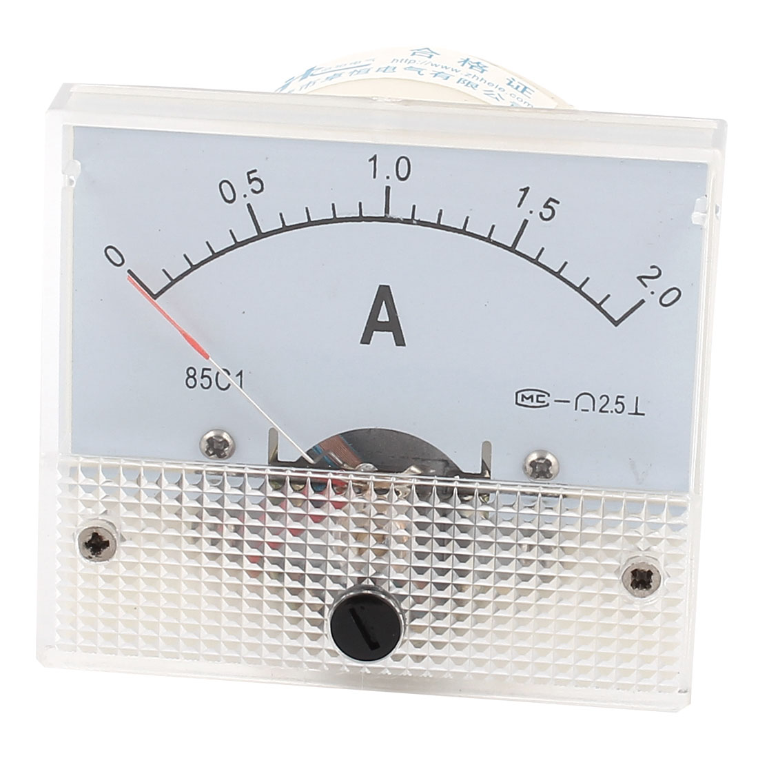85C1 DC 0-2A Class 2.5 Accuracy Clear Rectangle Panel Mounted Analog Ammeter Ampere Meter