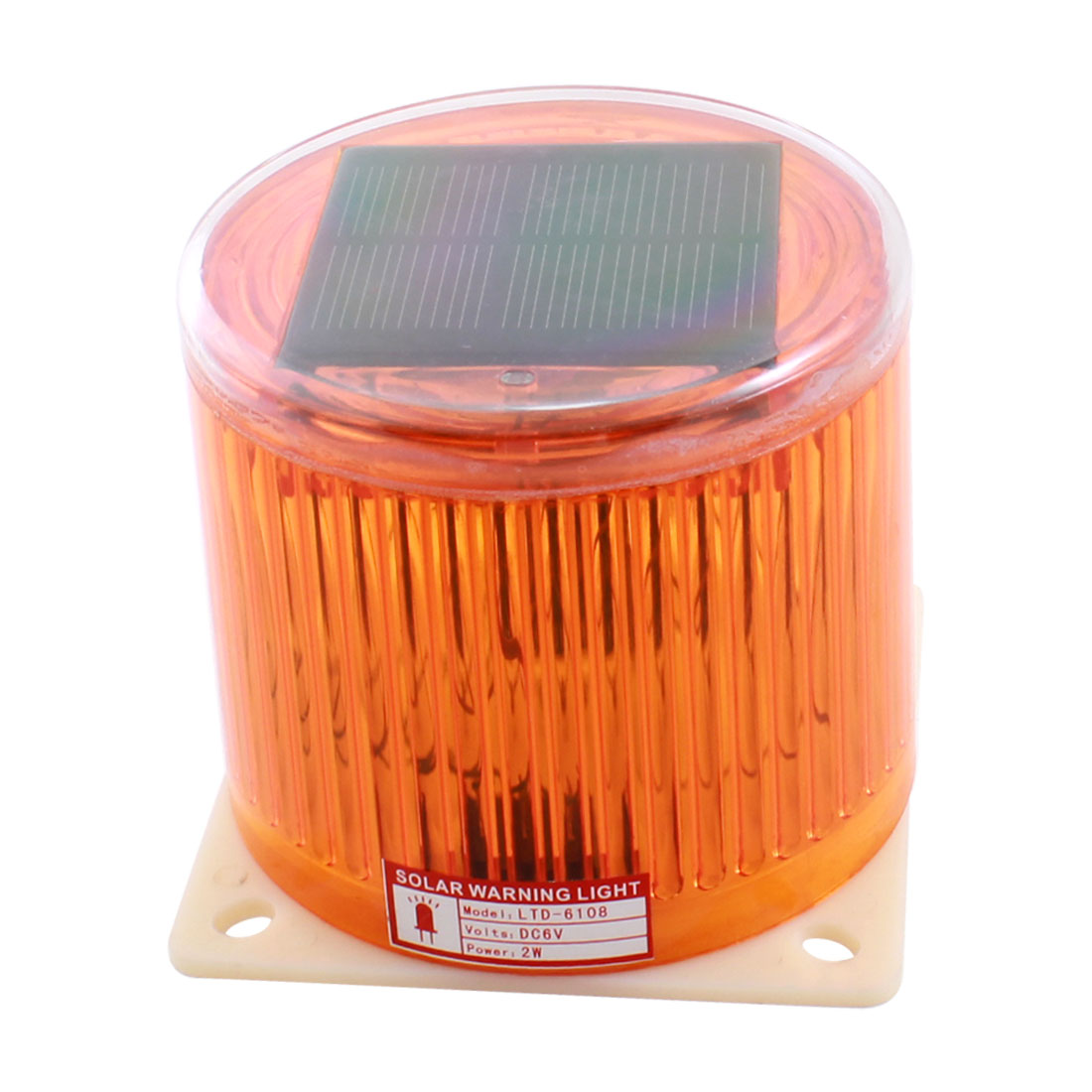 Yellow Traffic Solar Power Flasher LED Warning Beacon Light Lamp