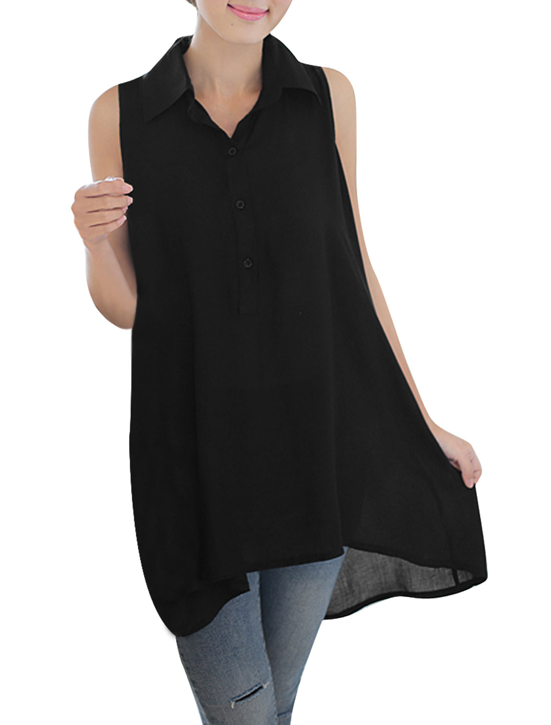 Woman Semi-Sheer 1/2 Button Front Lace Splice Back Tunic Top Black L
