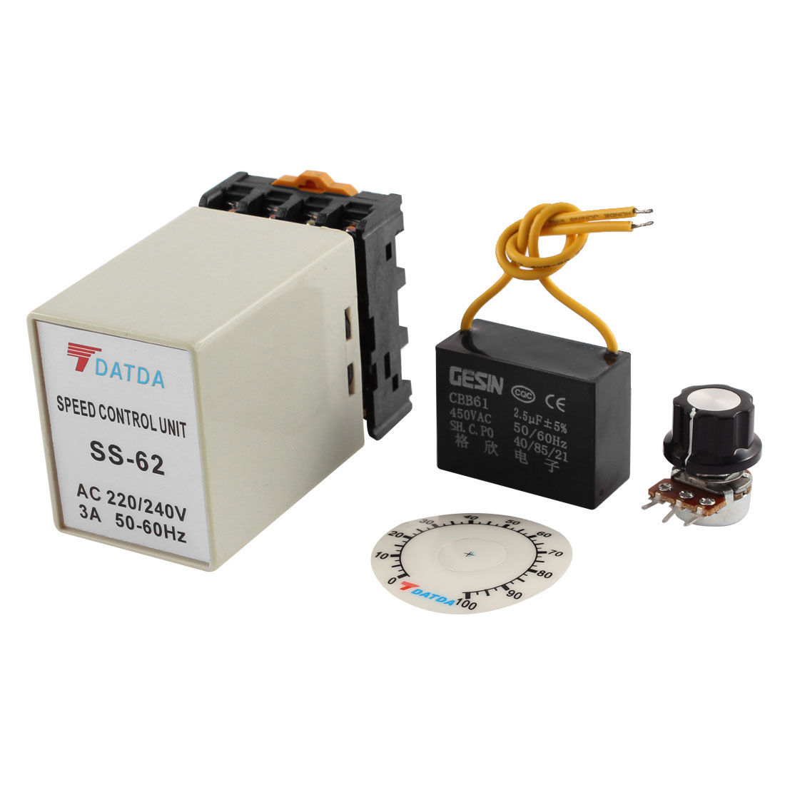 SS-62 Single Phase AC Motor Speed Control Unit Controller AC 220V/240V 3A 50-60Hz