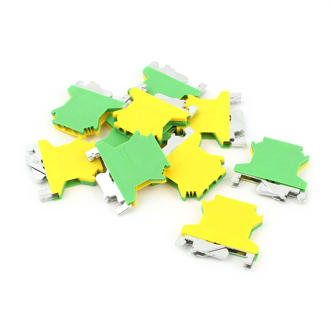 10 Pcs USLKG2.5 0.2-4mm2 Wire Rail Mount Grounding Terminal Block Yellow Green