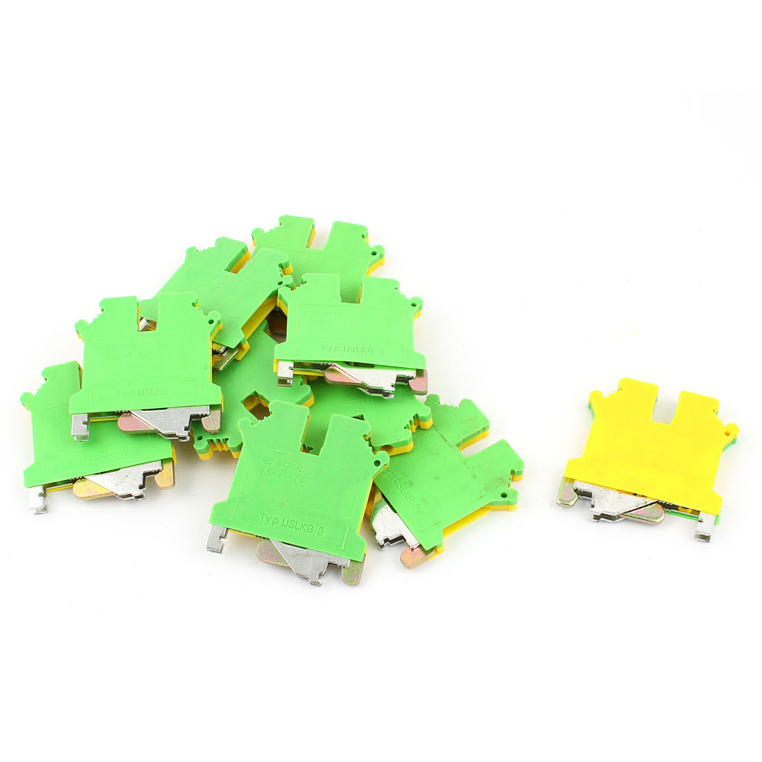 10 Pcs USLKG3 0.2-2.5mm2 Wire Rail Mount Grounding Terminal Block Yellow Green