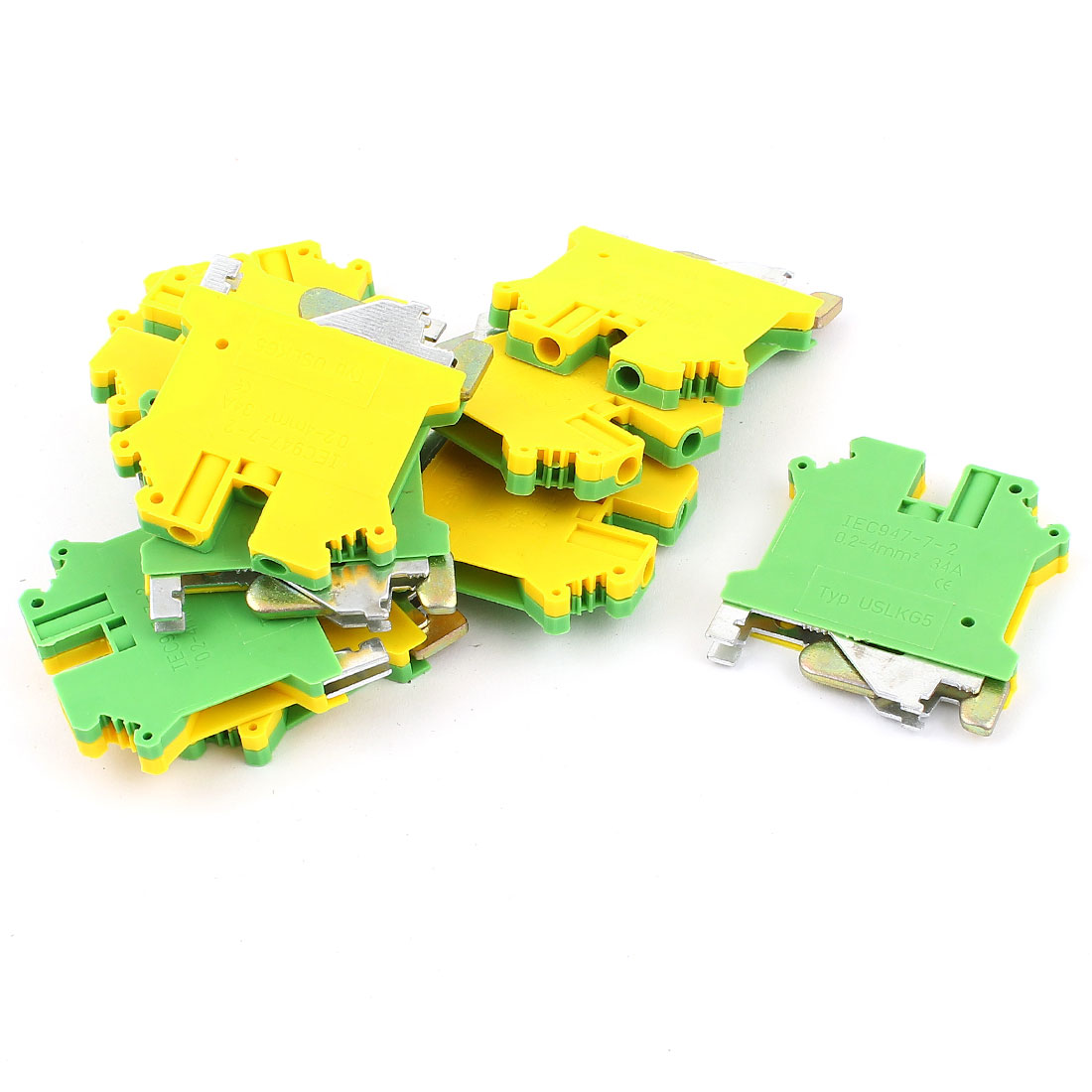 10 Pcs USLKG5 0.2-4mm2 Wire Rail Mount Grounding Terminal Block Yellow Green