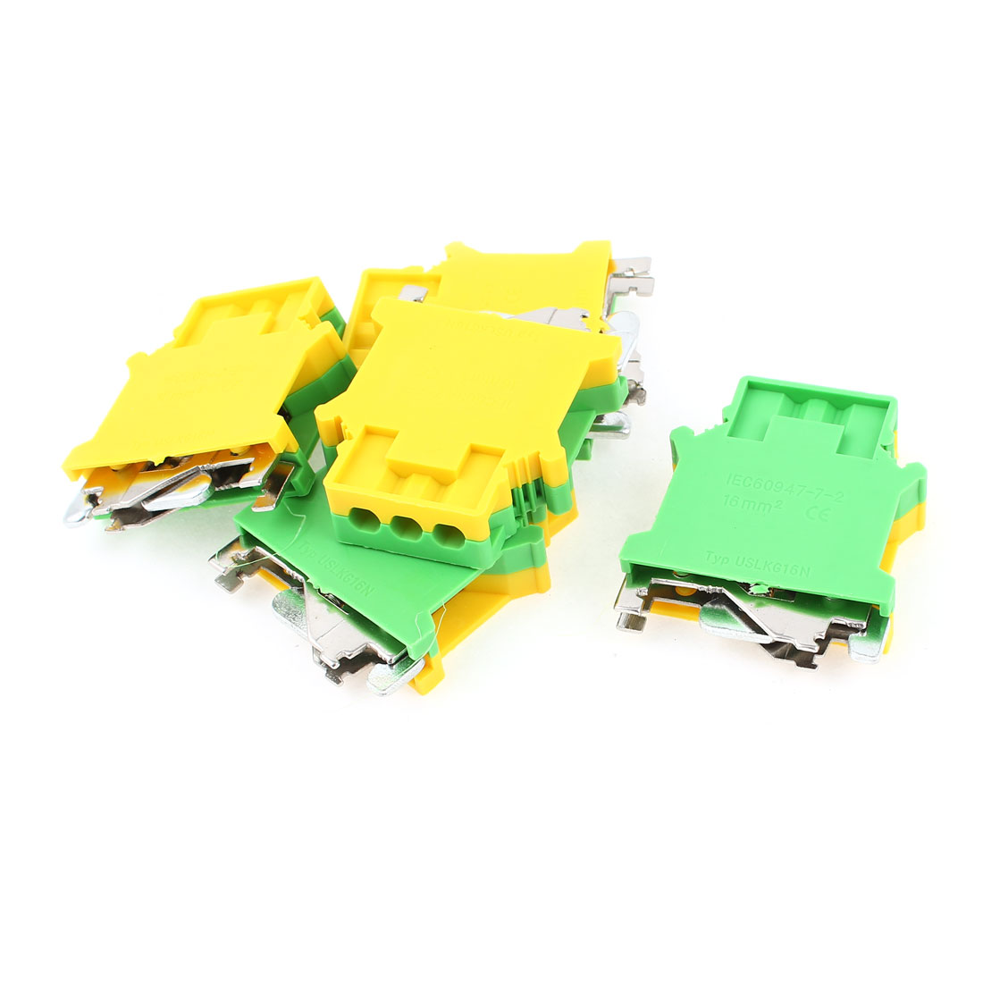 5 Pcs USLKG16N 4-16mm2 Wire Rail Mount Grounding Terminal Block Yellow Green