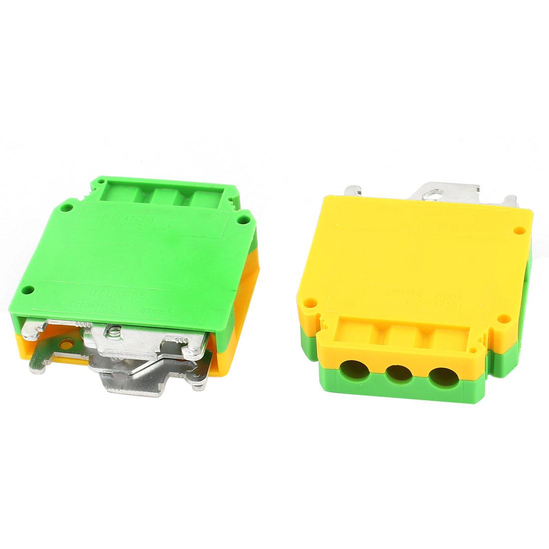 2 Pcs USLKG35 0.75-35mm2 Wire Rail Mount Grounding Terminal Block Yellow Green
