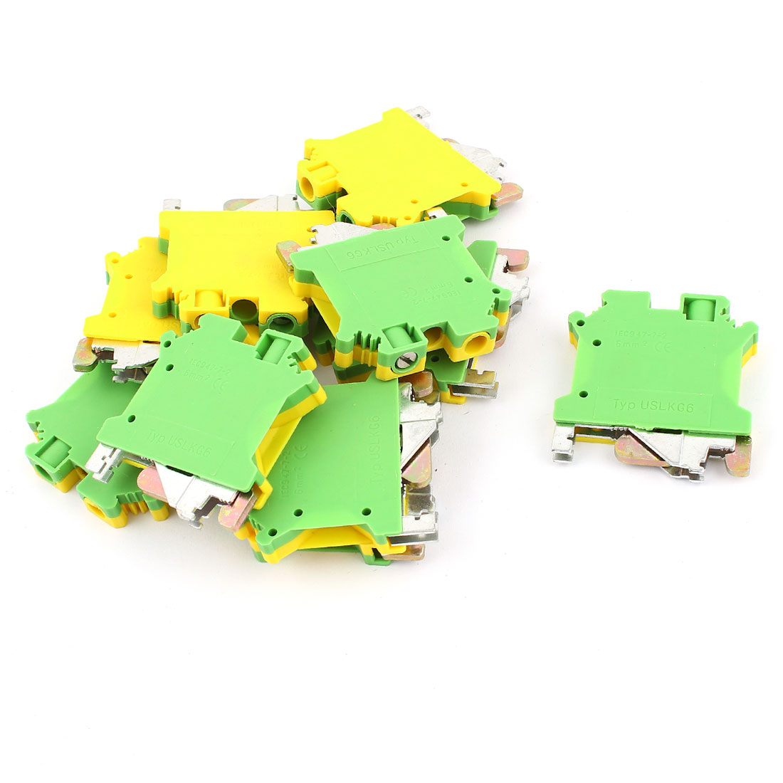 10 Pcs USLKG6 0.2-6mm2 Wire Rail Mount Grounding Terminal Block Yellow Green