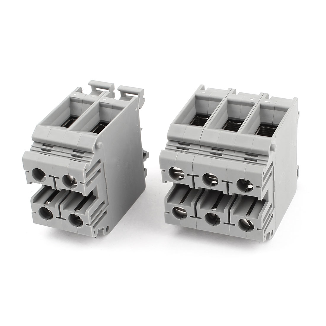 5 Pcs UKH35 Rail Mount 0.75-35mm2 Wire Screwless Terminal Block Gray 800V 150A