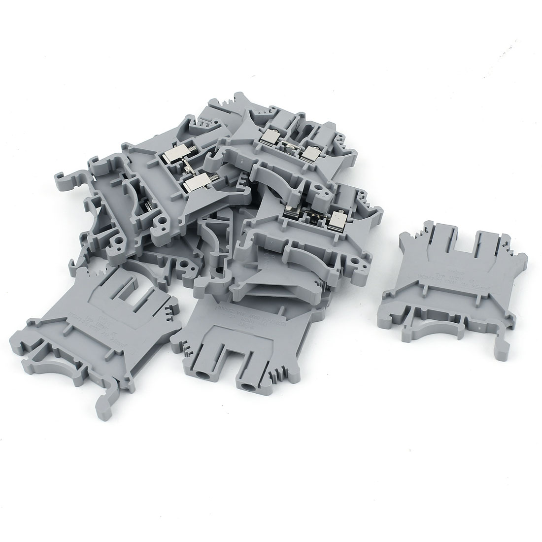 10 Pcs UK3N 0.2-2.5mm2 Wire Guide Rail Terminal Block Gray 800V 32A