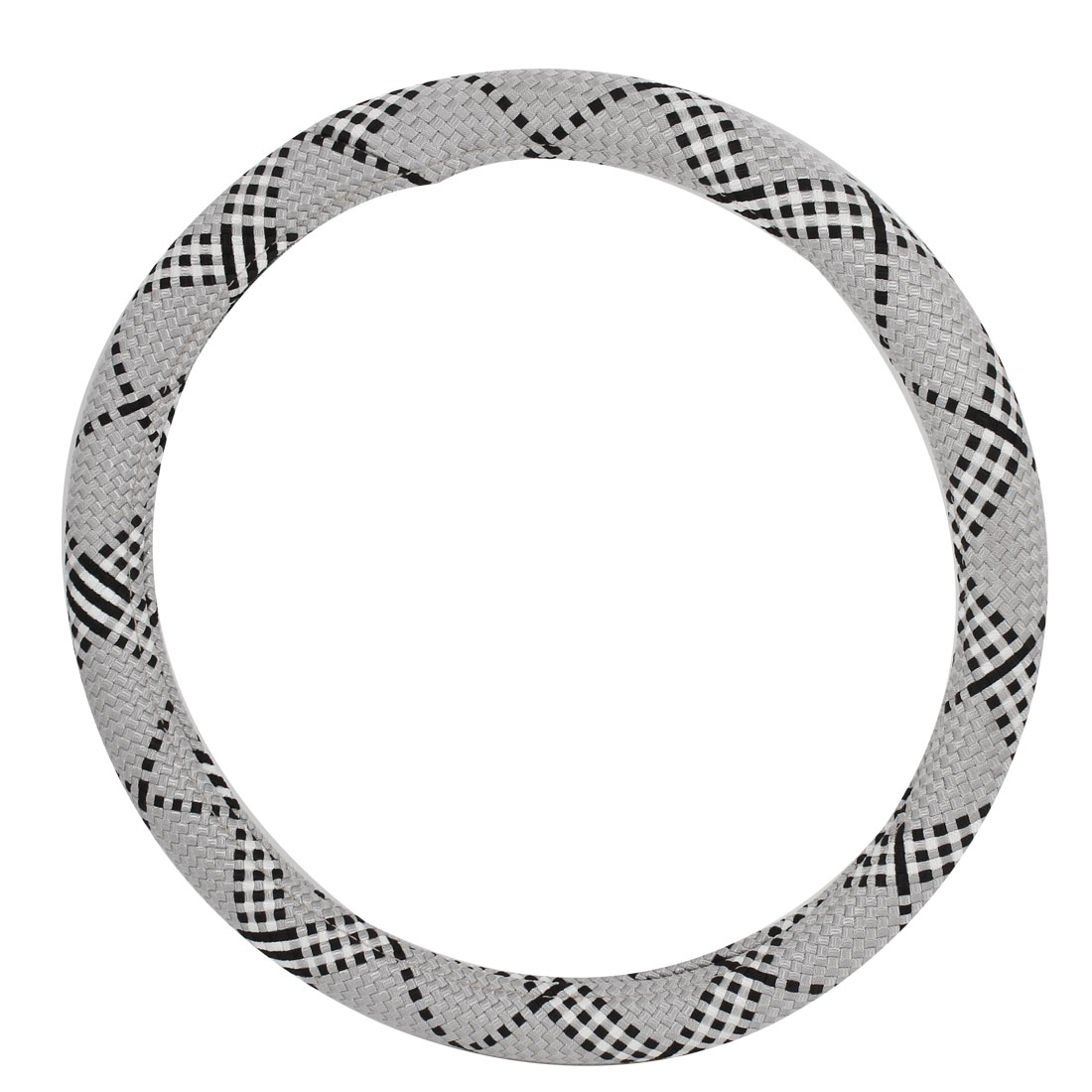 Car Woven Style Nylon Steering Wheel Cover Protector 38cm Diameter Gray