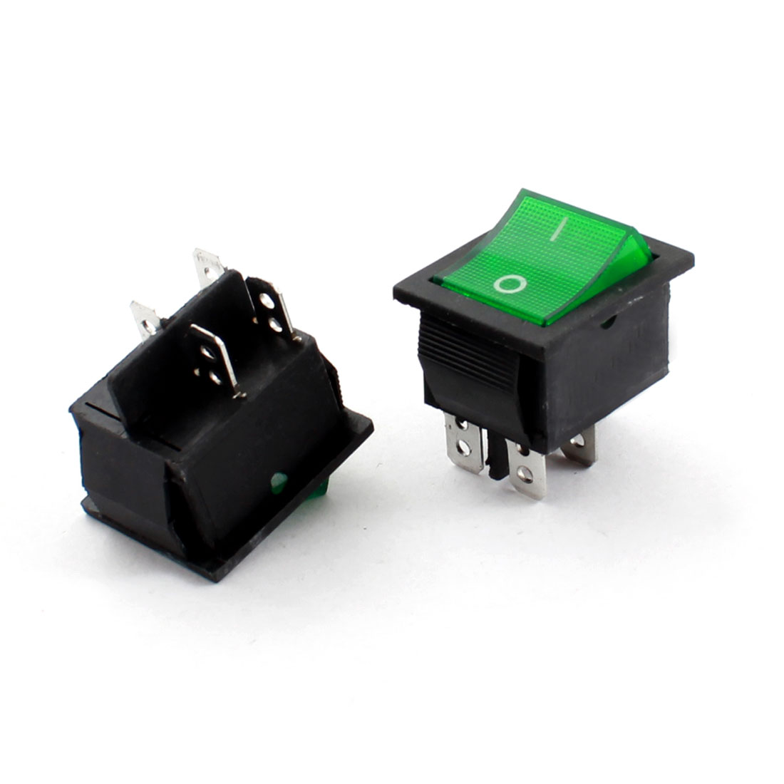 2 Pcs Electric KCD-102 Green Light 4 Contact Terminal DPST On/Off Boat Rocker Switch AC 220V 5A