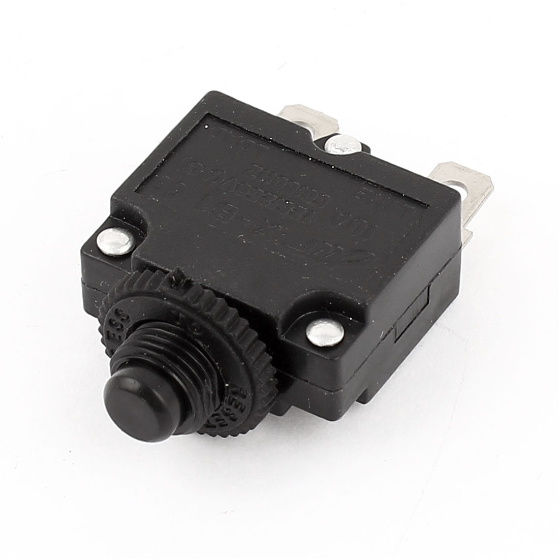 45mm x 28mm x 13mm DIP PCB Round Pushbutton 2 Terminal Momentary Tactile Switch Black AC125V-250V 10A