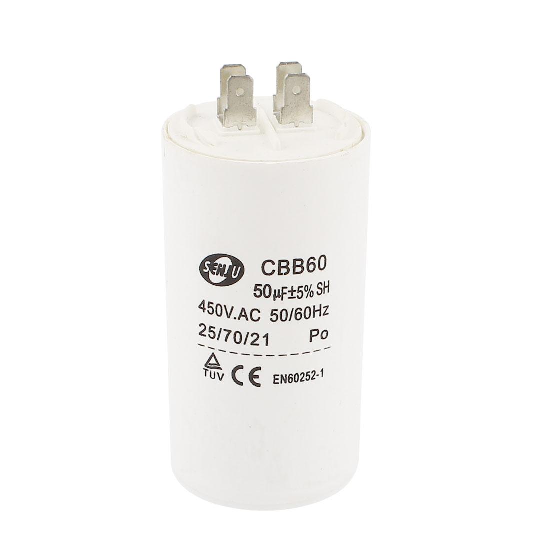 Washing Machine CBB60 Nonpolar Motor Running Capacitor AC 450V 50uF 50/60Hz