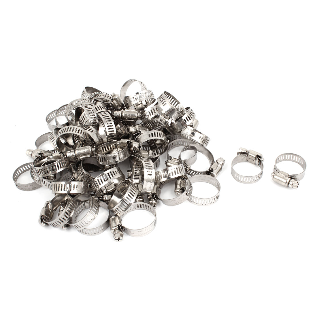 97 Pcs Stainless Steel 18-29mm Hoop Ring Adjustable Hose Clamps 10mm Width