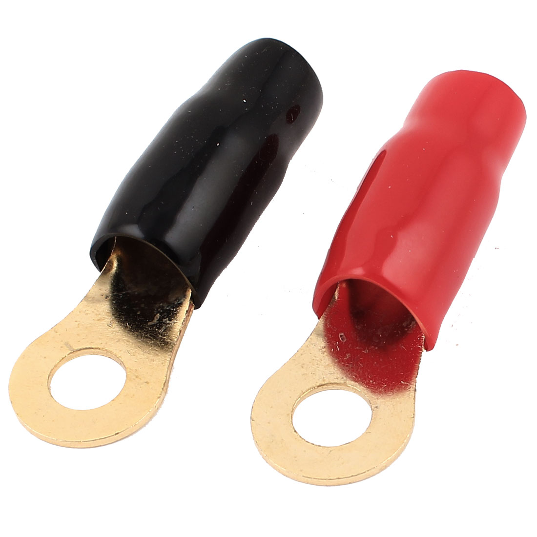 Pair Black Red PVC Insulated Ring Terminal Cable Lugs 11mm Inner Dia