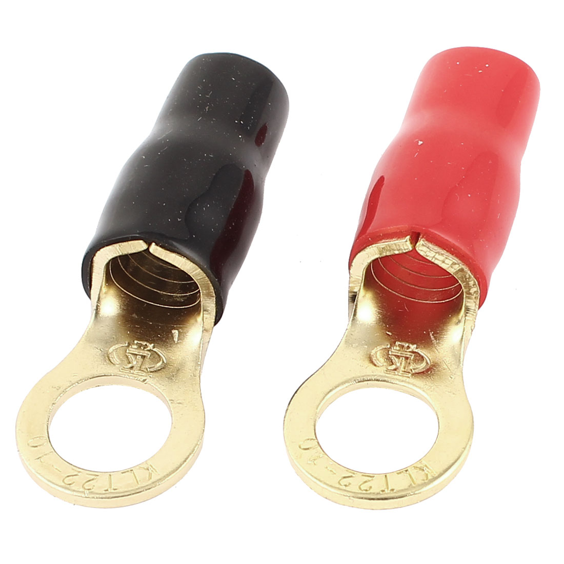 2 Pcs Red Black Sleeve Ring Tongue Type Pre Insulated Terminal