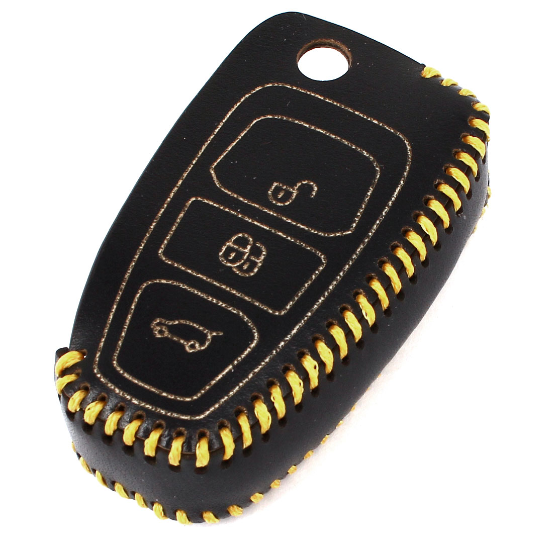 Vehicles Black Yellow Faux Leather Three Remote Key Case Holder Cover for Ford