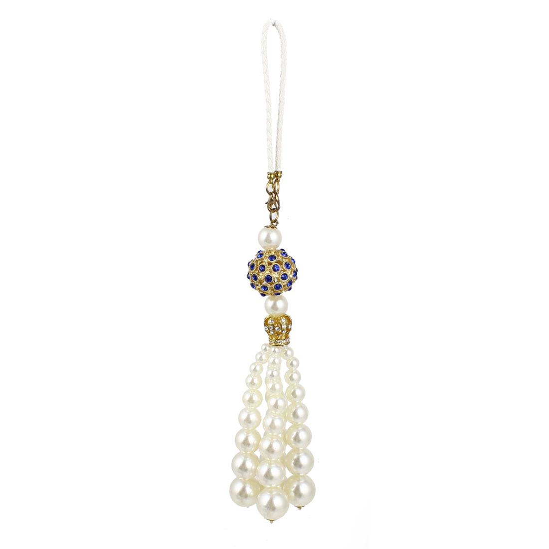 Car Home White Plastic Beads Link Pendant Tassel Hanging Decor Ornament