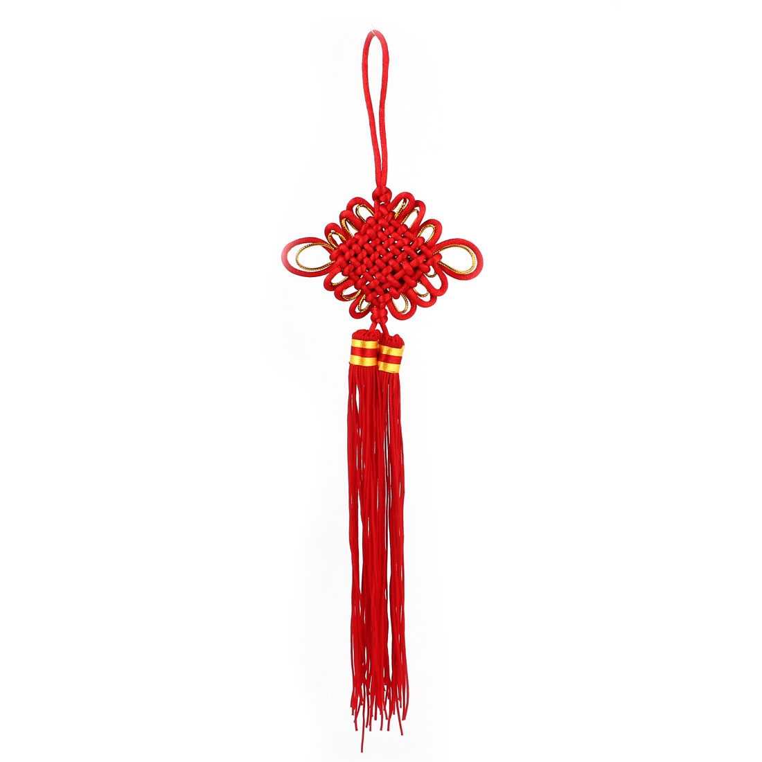 36cm Long Car Decor Dual Tassel Braided Red Gold Tone Nylon Chinese Knot