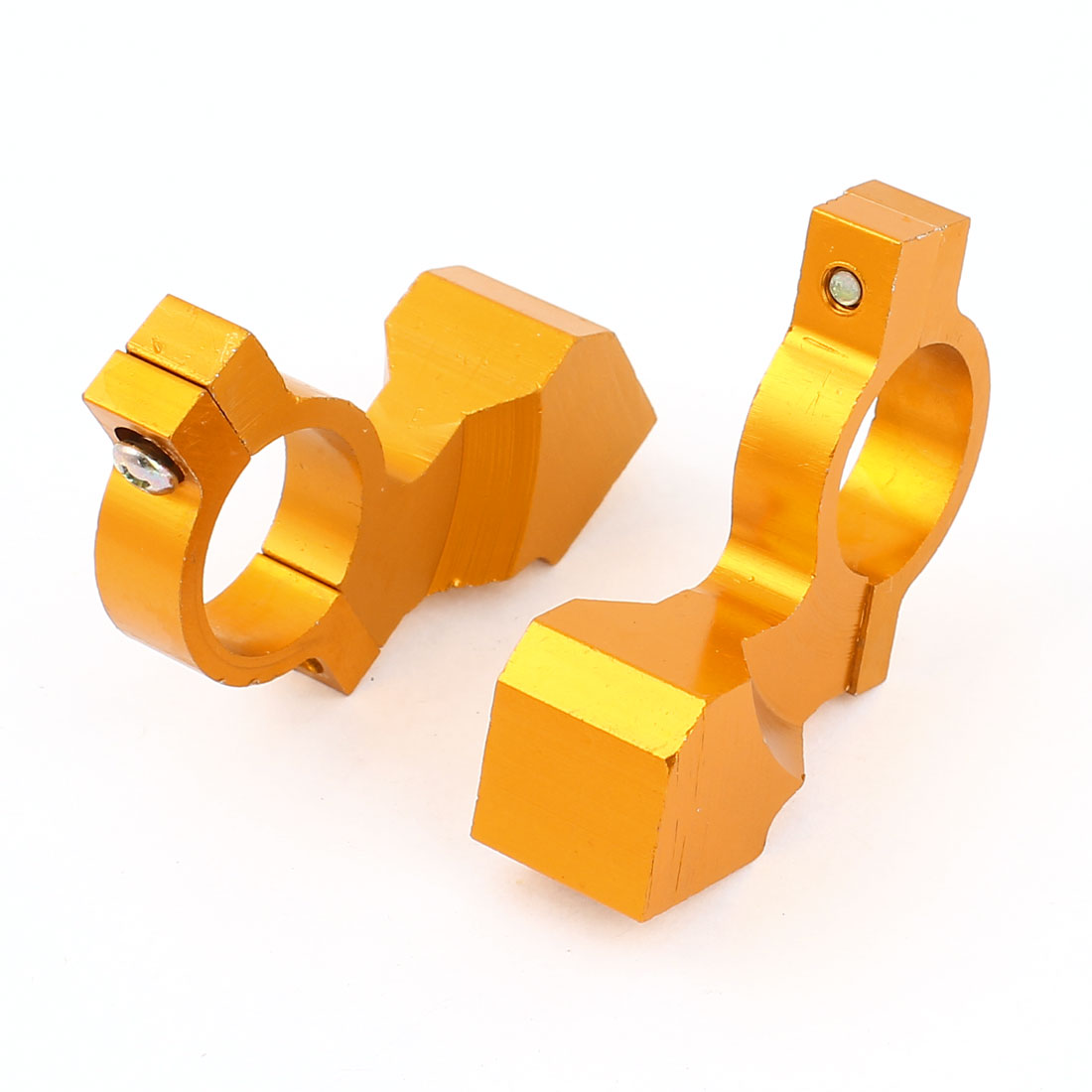 2 Pcs Gold Tone Aluminum 10mm Thread Dia Handlebar Mirror Mount Holder Clamp for Motorcycle