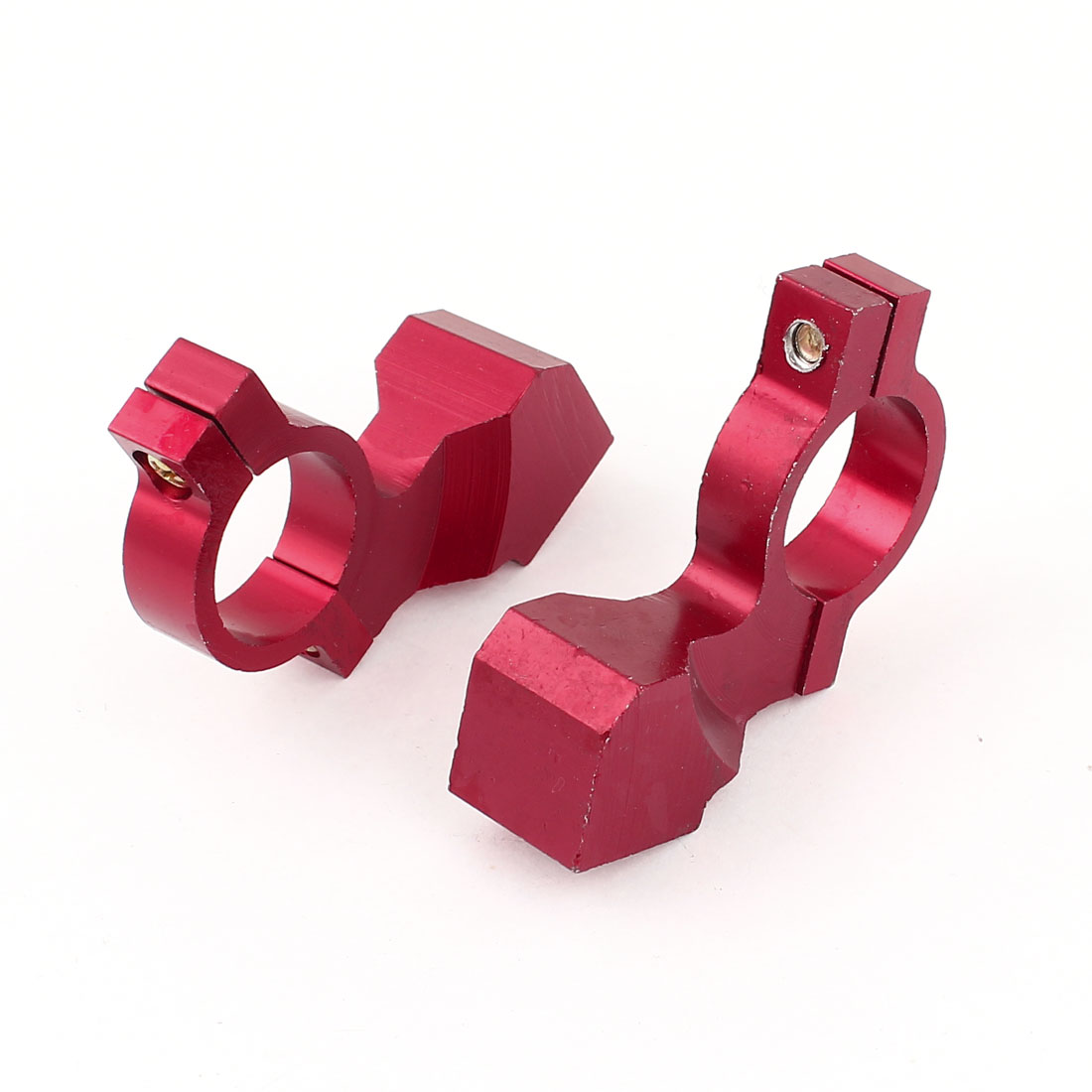 Pair 10mm Thread Red Aluminum Motorcycle Handle Bar Mirror Mount Holder Clamp