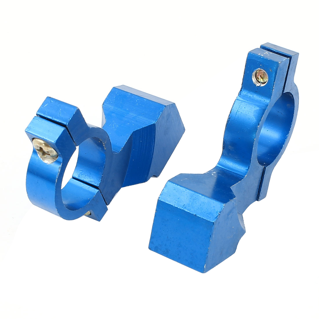 Pair Blue 8mm Motorcycle Handle Bar Mirror Mount Holder Adaptor Aluminum Clamp