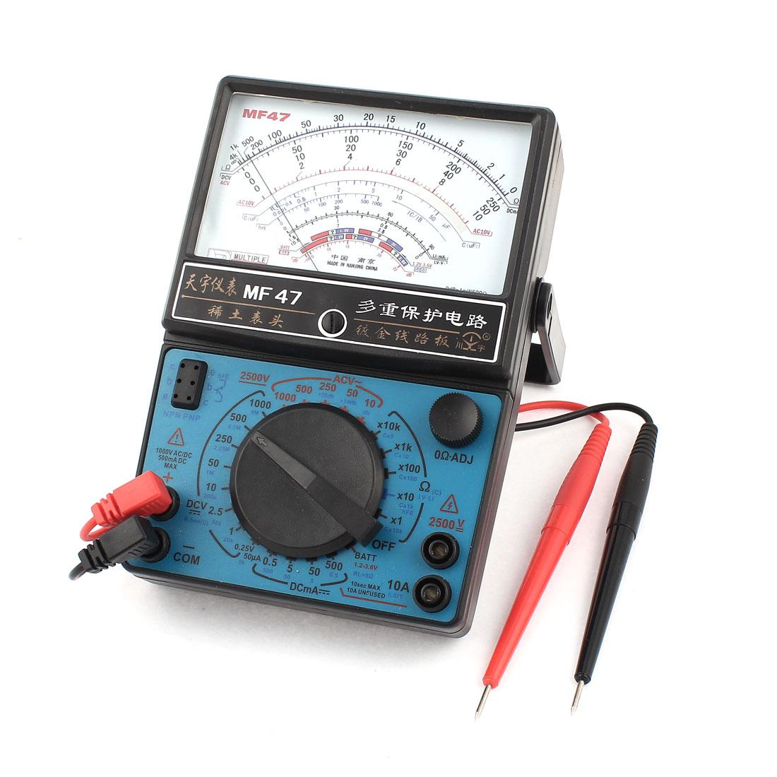 MF-47 Ohm Ampere Volt Diode Measuring Analog Multitester Multimeter Black