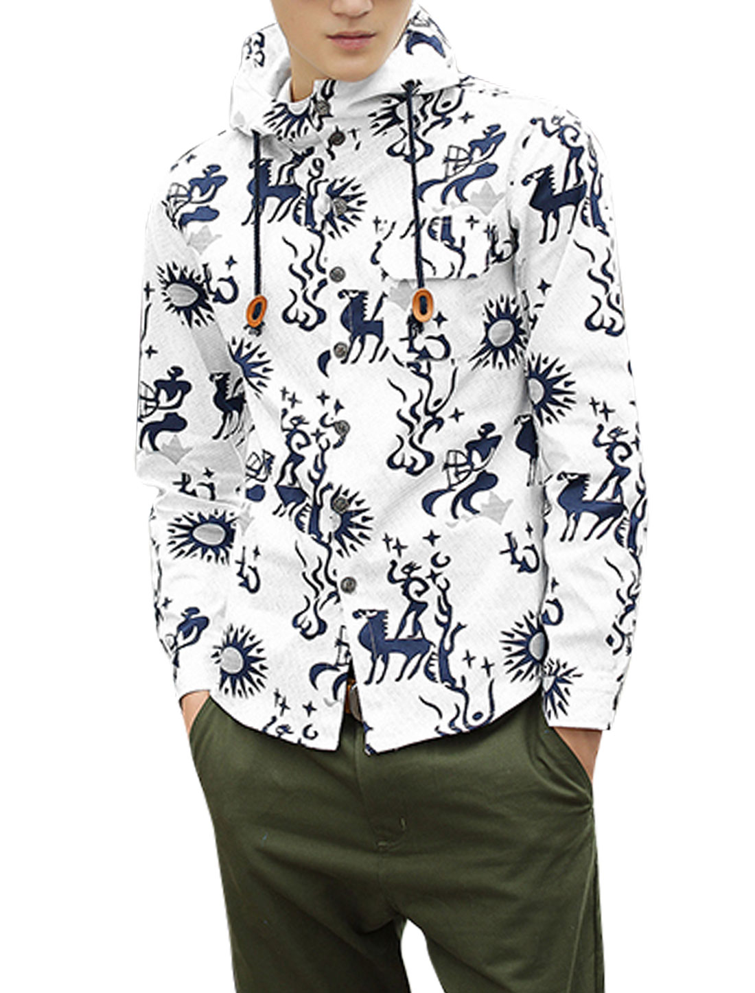 Men Single Breasted Chest Pocket Light Hoodie Jacket Beige Navy Blue M