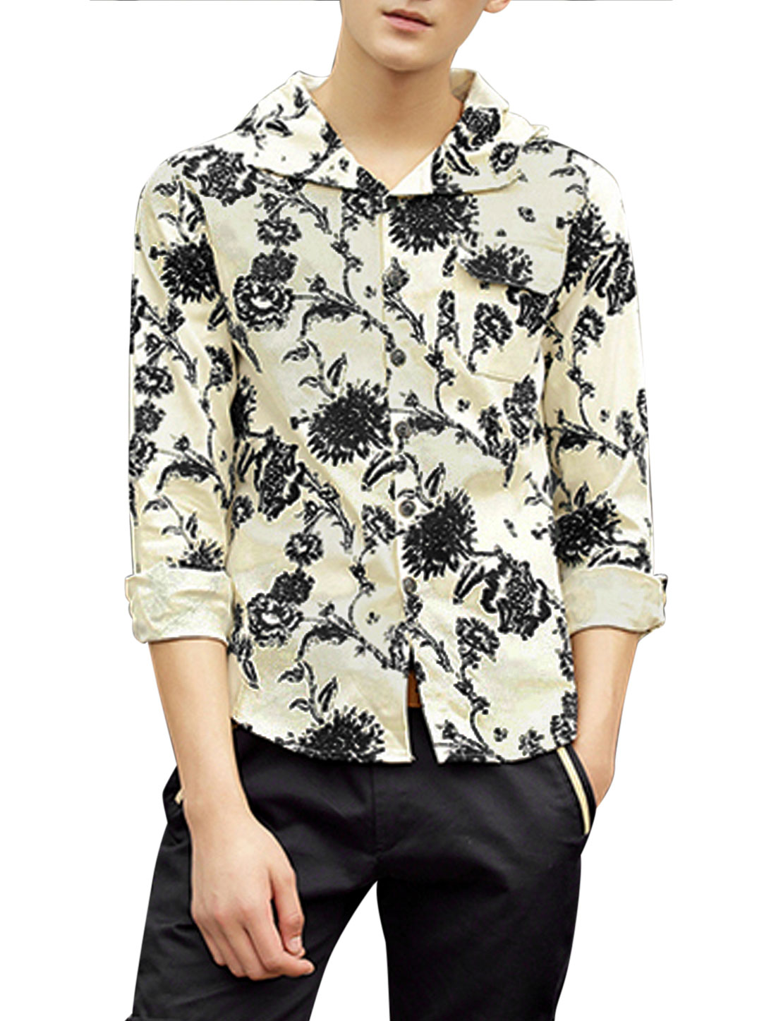 Men Allover Flower Prints Button Up Thin Hooded Jacket Black Khaki M