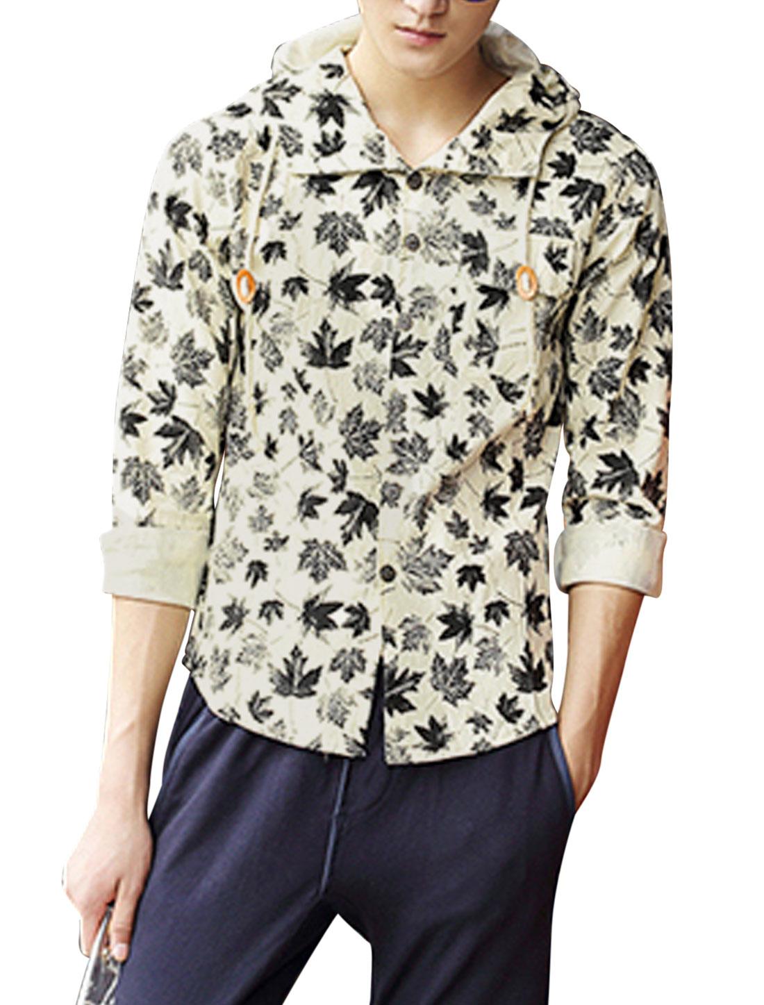 Men Maple Leaves Print Button Closed Thin Hooded Jacket Khaki M