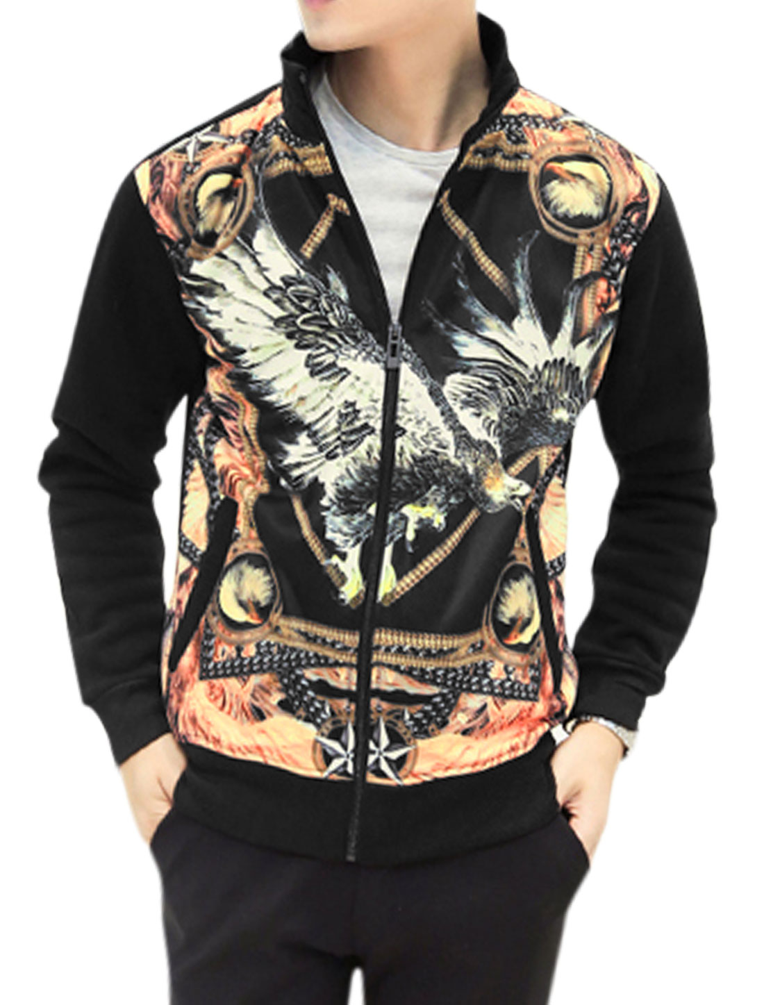 Men Stand Collar Long Sleeve Eagle Prints Trendy Outer Jacket Black M
