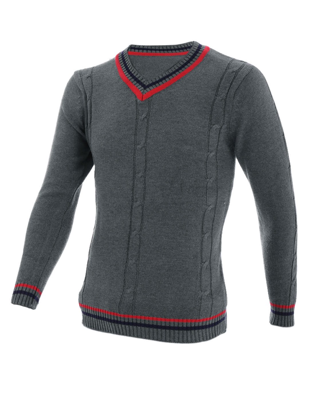 Men Stylish Contrast Color Stripes Detail Sweater Dark Gray S