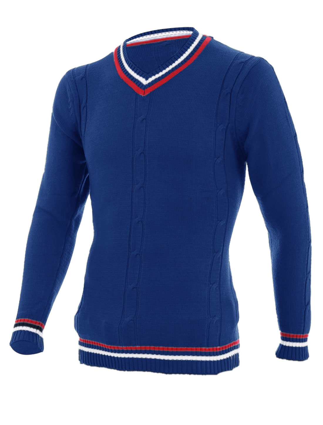 Fashion Contrast Color Stripes Detail Sweater for Men Blue S