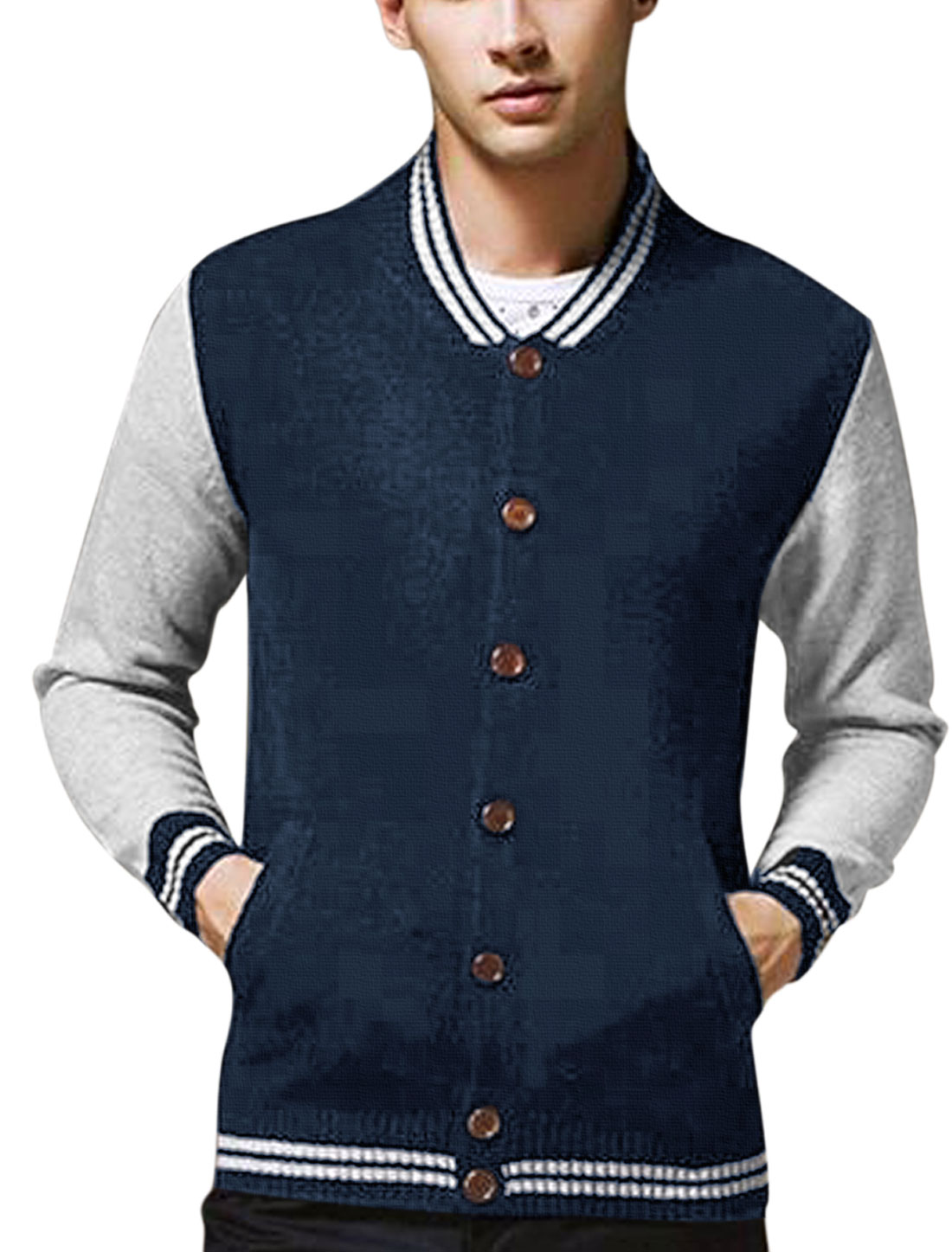 Men Stripes Detail Contrast Color Pockets Front Casual Cardigan Navy Blue M