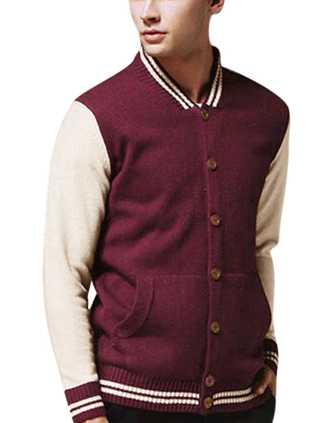 Men Stripes Detail Single Breasted Pockets Front Casual Cardigan Burgundy M