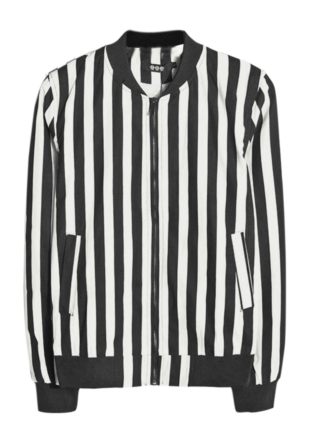 Man Black White Long Sleeves Stand Collar Stripes Zippered Front Jacket S