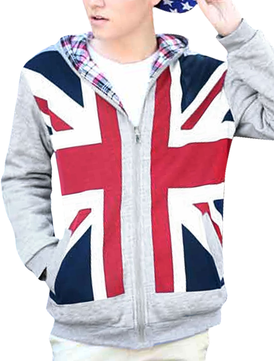 Men Full Zip Up England Flag Prints Reversible Hoodie Jacket Gray M