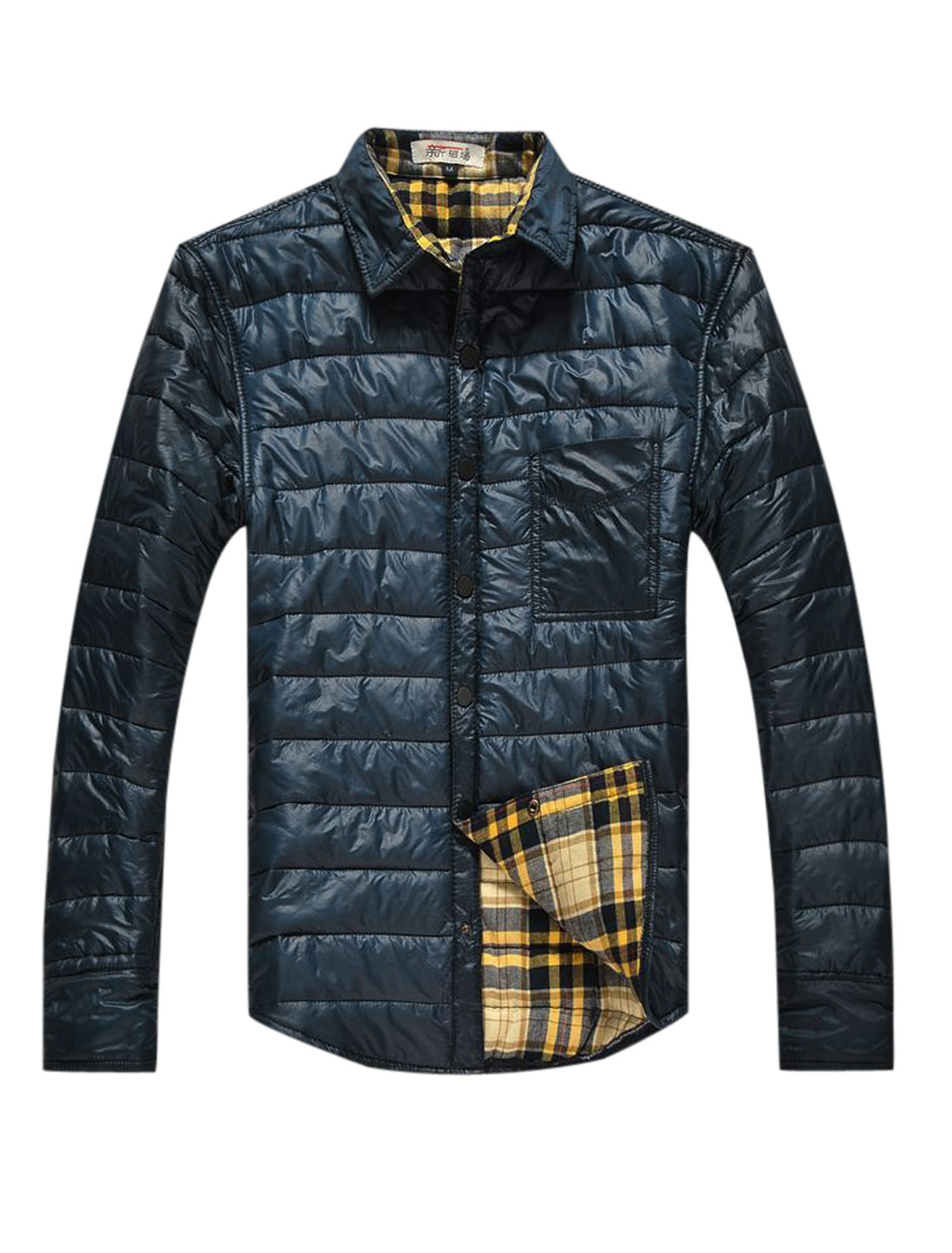 Men Snap Buttons Closed Chest Pocket Plaids Lined Casual Padded Coat Navy Blue M