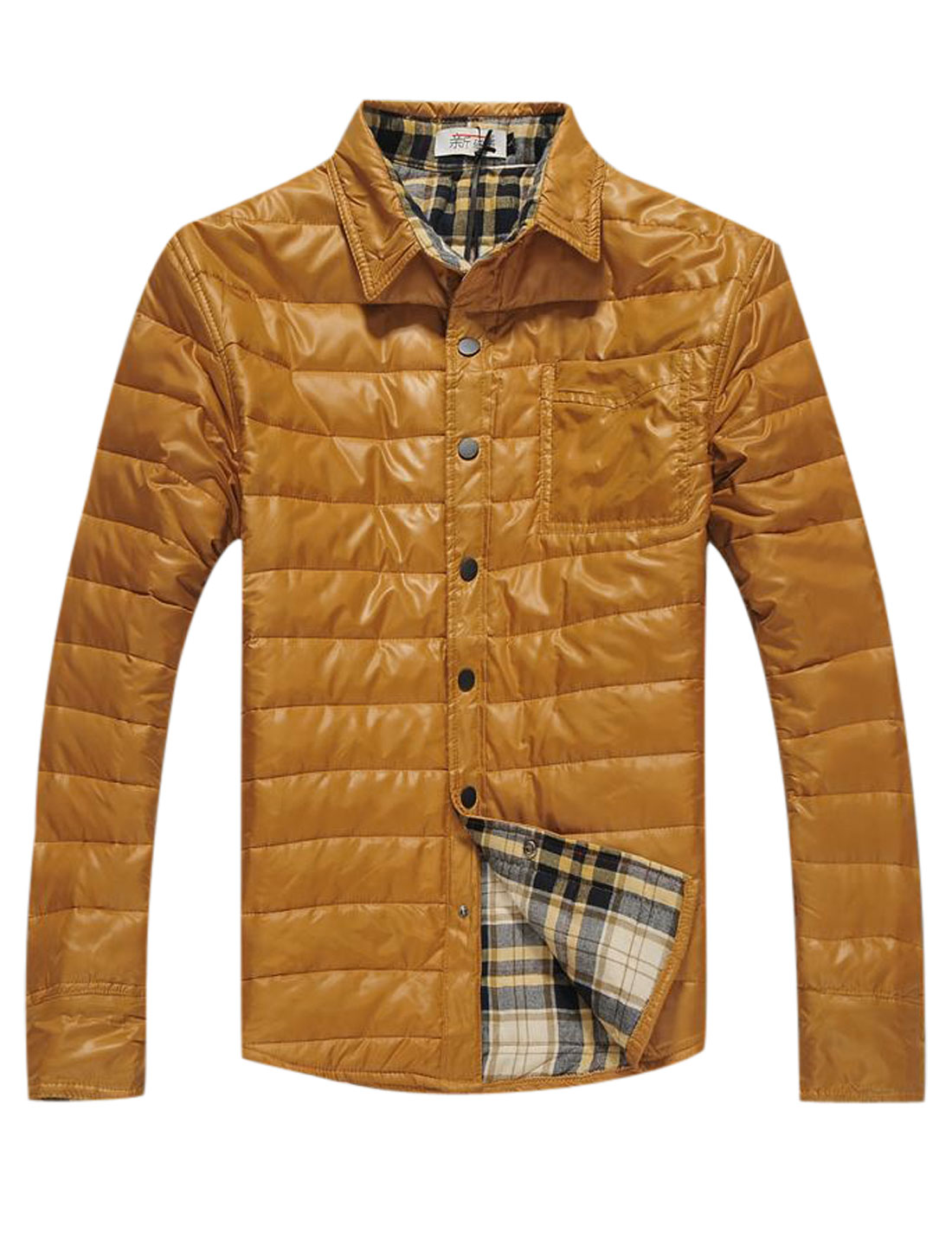 Men Snap Buttons Closed Round Hem Plaids Lined Casual Padded Coat Ochre M