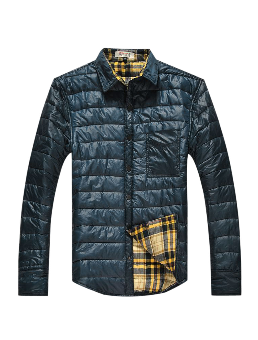 Men Snap Buttons Closed One Pocket Plaids Lined Casual Padded Coat Navy Blue L