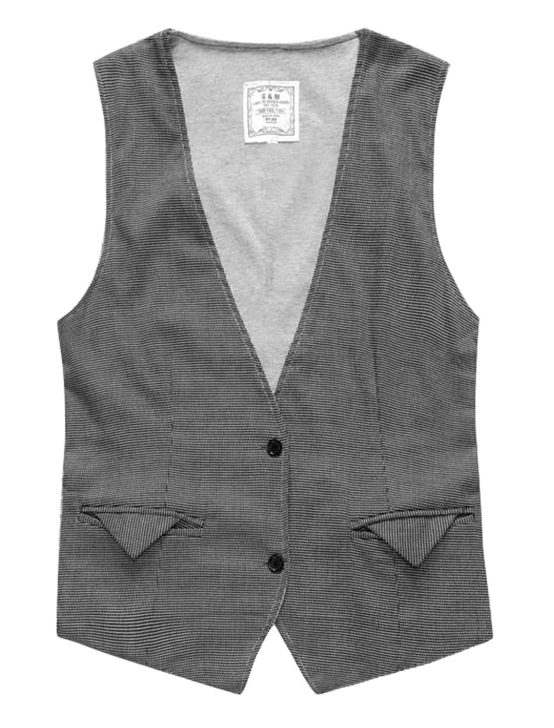 Men Deep V Neckline Dots Sleeveless Single Breasted Reversible Vest Gray S
