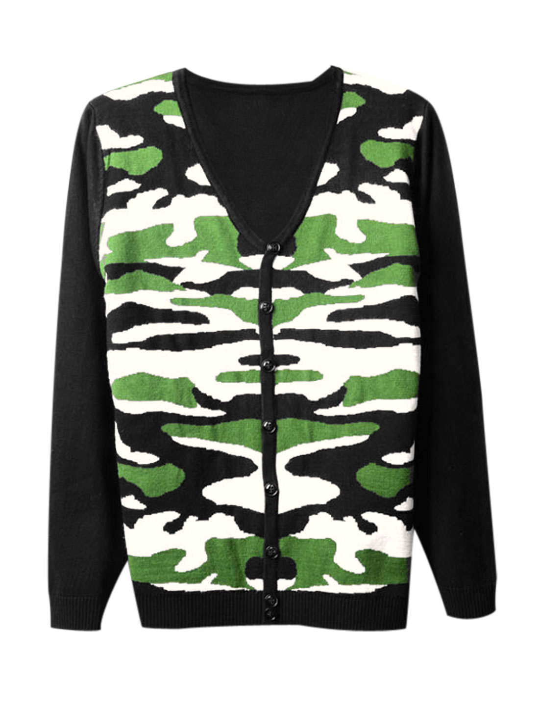 Men Single Breasted Contrast Camo Print Stylish Cardigan Green Black S