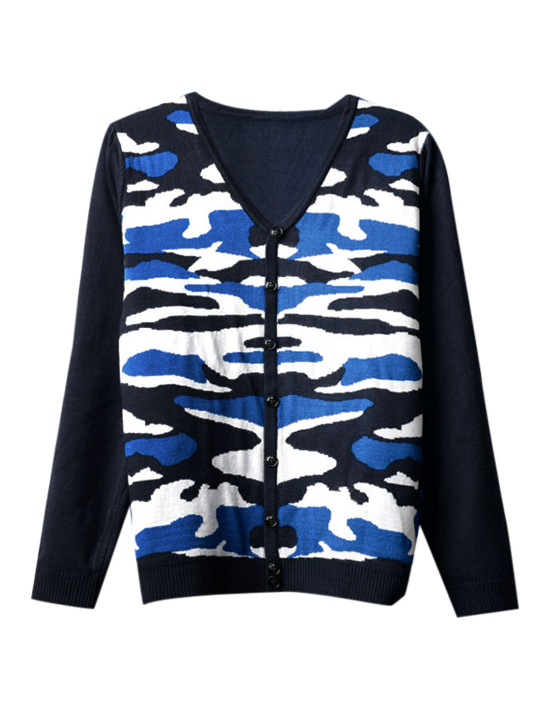 Men Long Sleeves Contrast Camo Print Stylish Cardigan Blue Navy Blue S