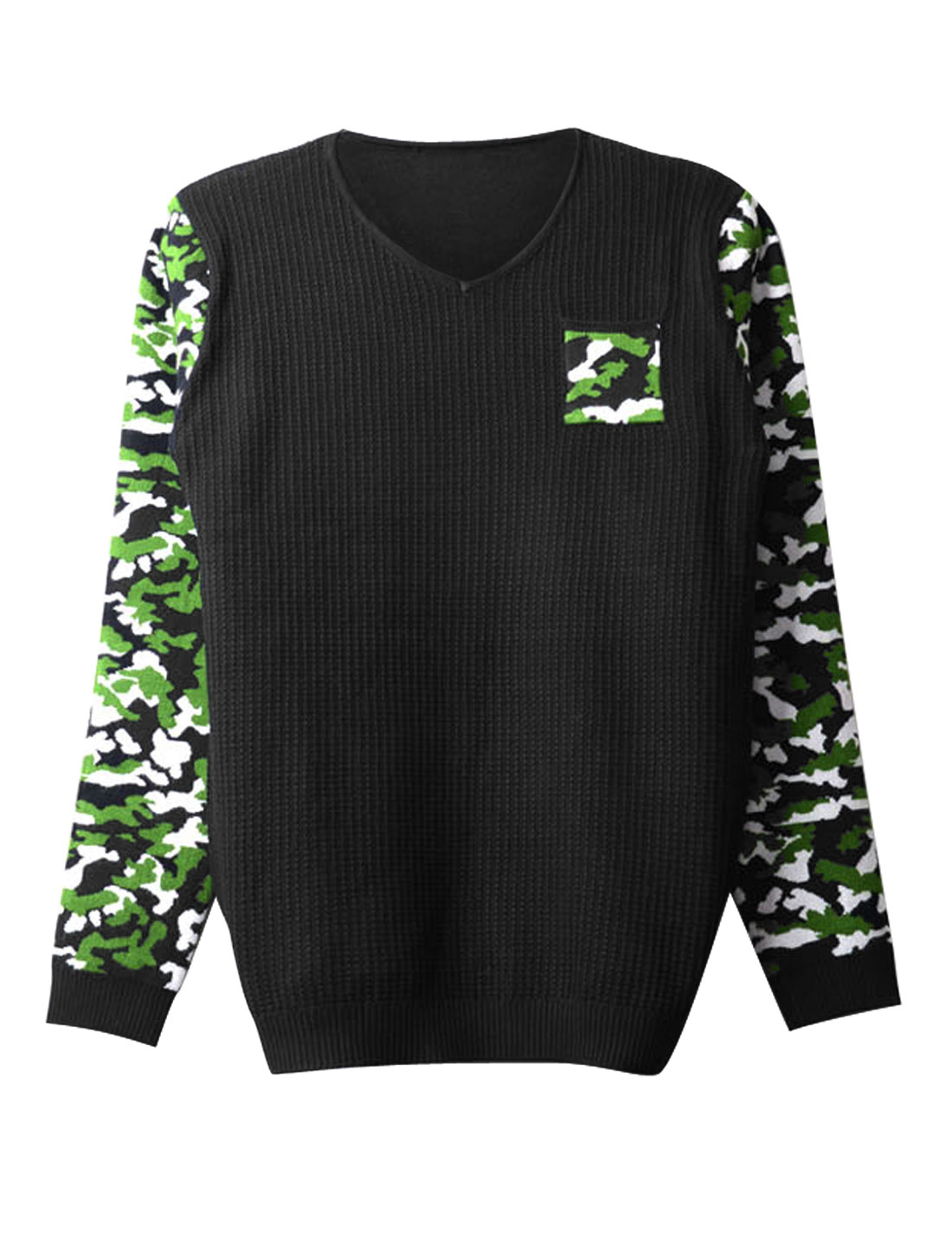 Men Contrast Long Sleeves Chest Pocket Camo Print Fashion Sweater Green Black S