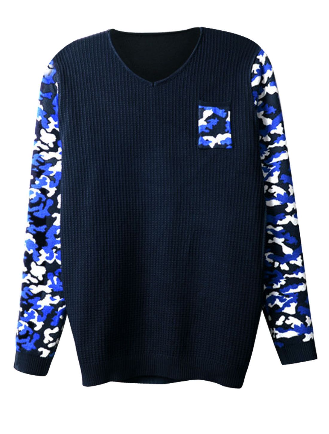 Men Contrast Long Sleeves Pullover Camo Print Fashion Sweater Blue Navy Blue S