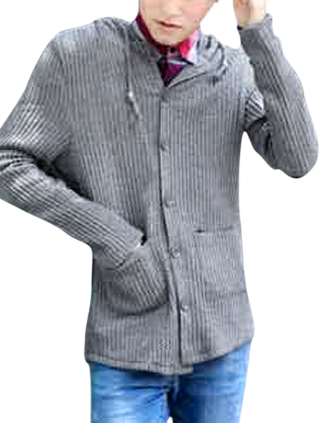 Men Drawstring Hooded Design Patch Pockets Casual Cardigan Gray S