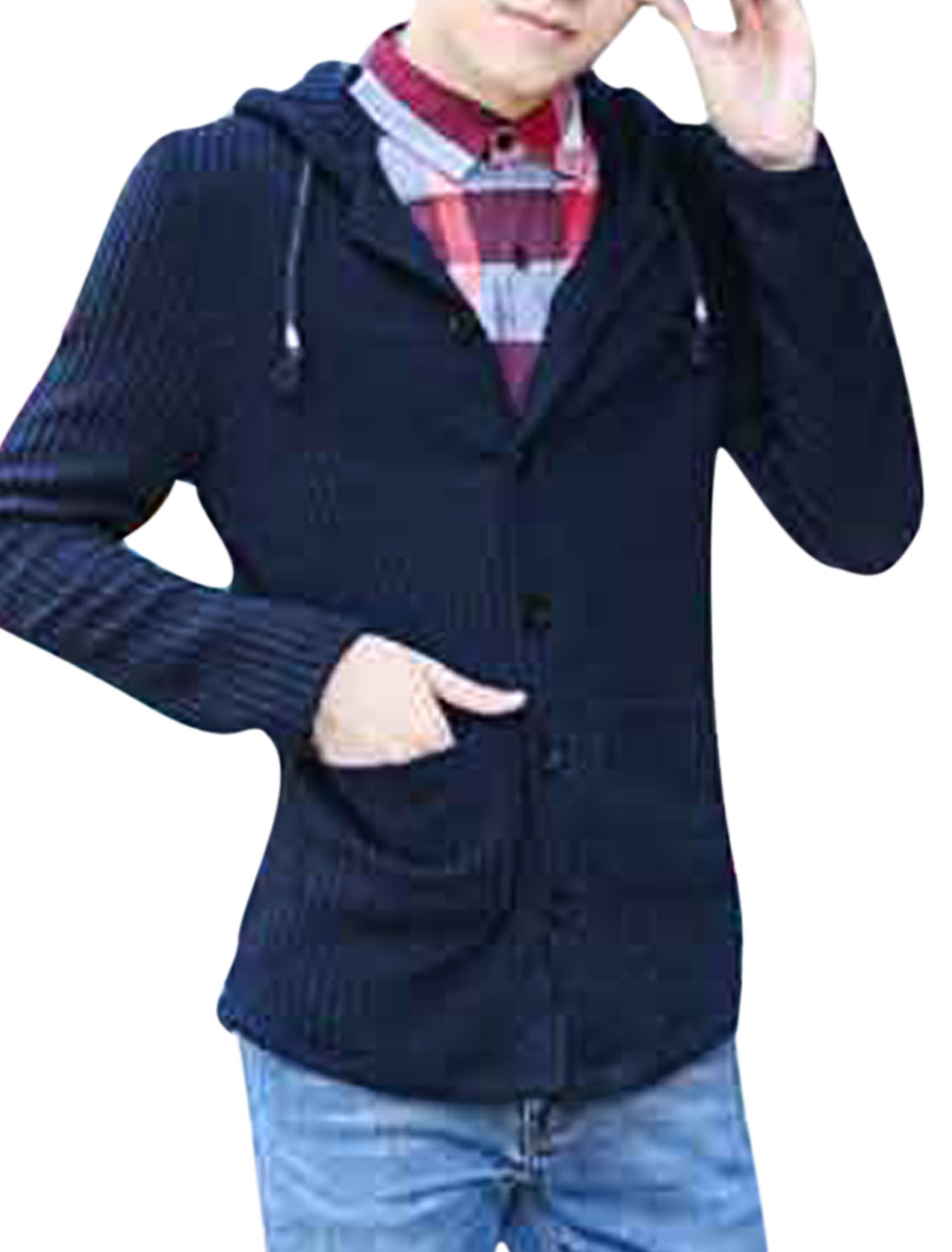 Men Drawstring Hooded Design Single Breasted Casual Cardigan Navy Blue S