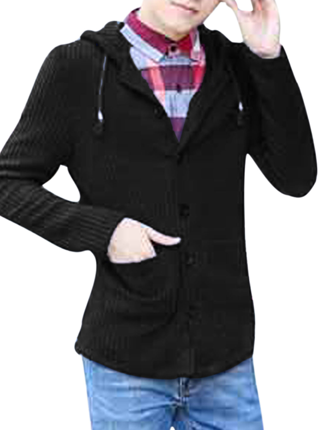 Men Drawstring Hooded Design Single Breasted Slim Fit Cardigan Black S