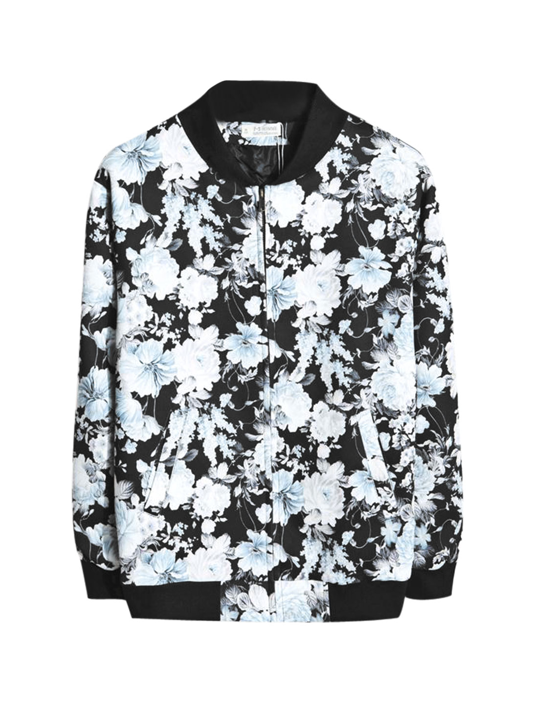 Men Allover Flower Prints Zip Up Long Sleeves Baseball Jacket Black M