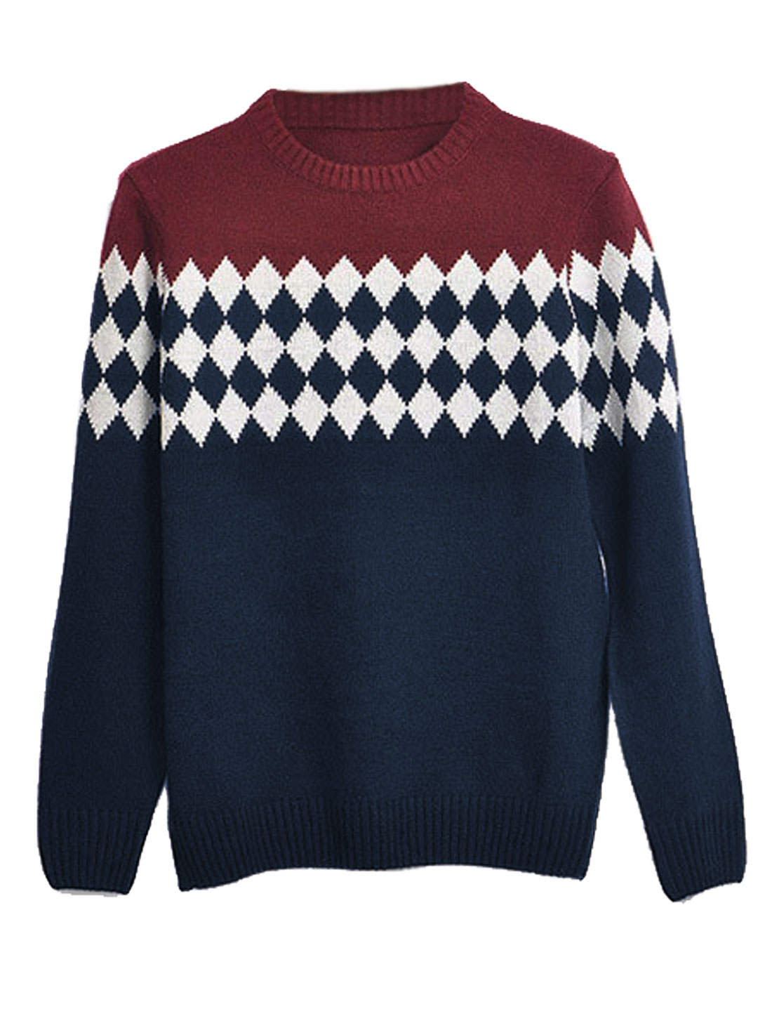 Men Leisure Ribbed Trim Contrast Color Argyle Print Sweater Navy Blue M